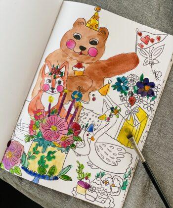 Coloring book set with Tjugga content